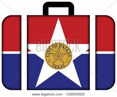 Flag Of Dallas, Texas. Suitcase Icon, Travel And Transportation Concept