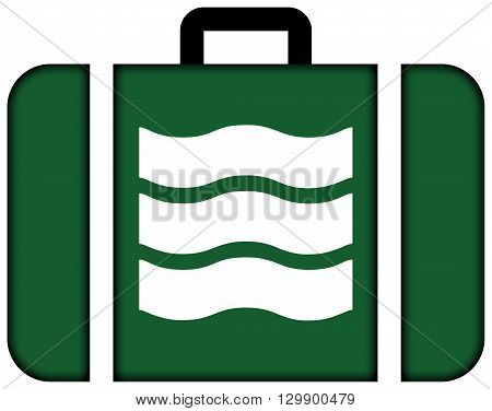 Flag Of Hiroshima, Japan. Suitcase Icon, Travel And Transportation Concept