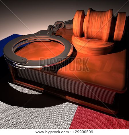 Handcuffs, Gavel And Book Over France Flag