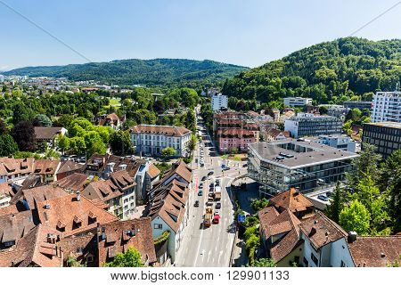 View To The Schulhausplatz Of Baden In The Swiss Canton Of Aargau.
