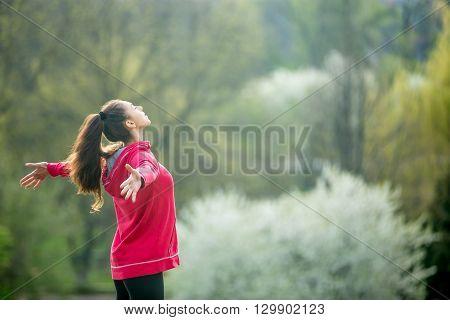 Joyful Happy Woman In Park