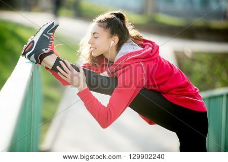 Runner Woman Doing Stretches Exercises