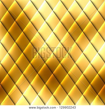 Abstract seamless gold rhombus pattern with a relief effect.