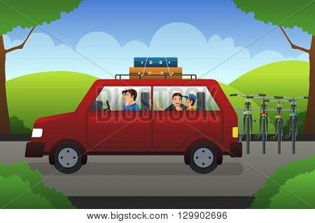 A vector illustration of happy family on a road trip