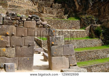 South America Peru Ollantaytambo - incan fortress strategically situated in the north part for Sacred Valley in Peru. Ollantaytambo is one of best kept Inca settlements.The most well-known building is never finished Sun Temple Gigant Stone