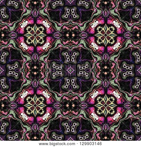Computer generated illustration with dark multicolour abstract kaleidoscope pattern.