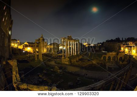 Full moon at the Forum Romanum - Wide Angle version Rome Italy