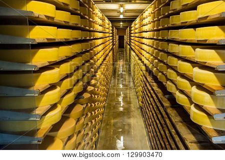 Interior View Of A Cheese Diary In Switzerland