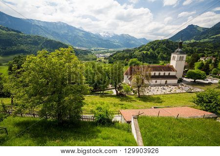 View Of The Historical Town Gruyeres In Switzerland