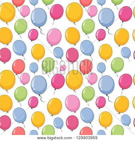 Color Glossy Balloons Seamles Pattern Background Vector Illustration EPS10