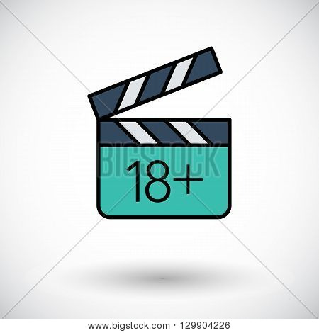 Adult movie clapper. Flat icon on the white background for web and mobile applications. Vector illustration.
