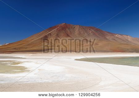 South America - the most beautifull Andes in Bolivia. The surreal landscape is nearly treeless punctuated by gentle hills and volcanoes near Chilean border