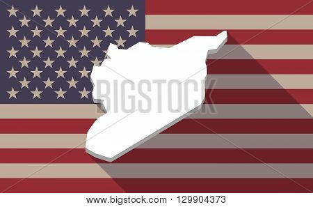 Long Shadow Usa Flag Icon With   The Map Of Syria
