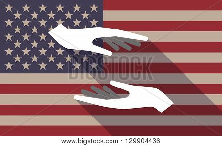 Long Shadow Usa Flag Icon With   Two Hands Giving And Receiving  Or Protecting