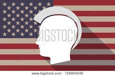 Long Shadow Usa Flag Icon With   A Male Punk Head Silhouette