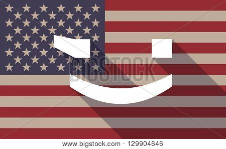 Long Shadow Usa Flag Icon With   A Wink Text Face Emoticon