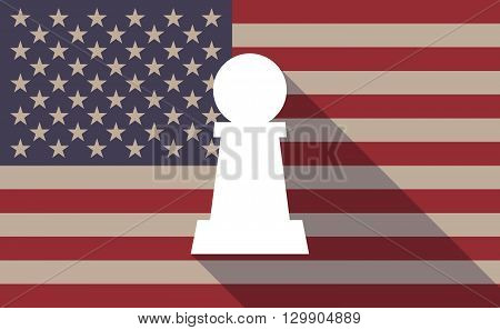 Long Shadow Usa Flag Icon With  A  Pawn Chess Figure