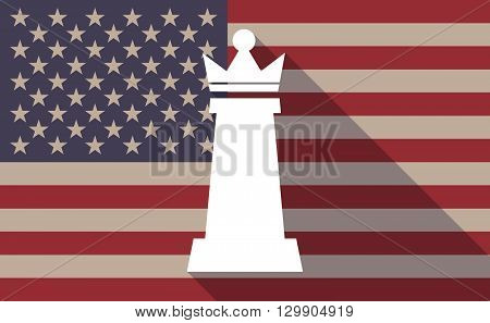 Long Shadow Usa Flag Icon With  A  Queen   Chess Figure