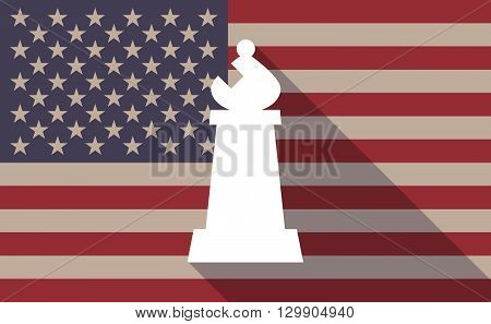 Long Shadow Usa Flag Icon With  A Bishop    Chess Figure