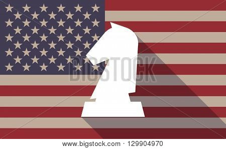 Long Shadow Usa Flag Icon With  A  Knight   Chess Figure