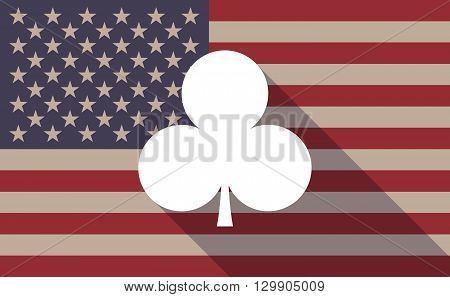 Long Shadow Usa Flag Icon With   The  Club  Poker Playing Card Sign