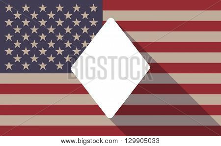 Long Shadow Usa Flag Icon With   The  Diamond  Poker Playing Card Sign