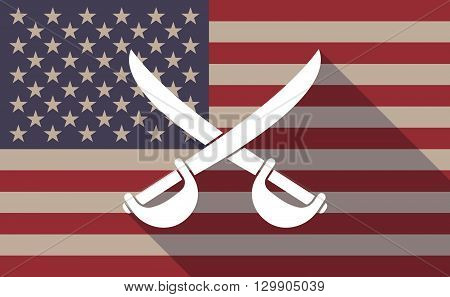 Long Shadow Usa Flag Icon With   Two Swords Crossed