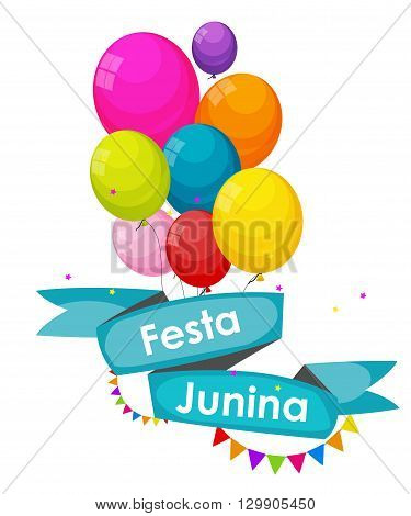 Festa Junina Holiday Background. Traditional Brazil June Festival Party. Midsummer Holiday. Vector illustration with Ribbon, Balloons and Flags. EPS10