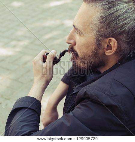 Bearded Man Smoking Pipe, Old Style