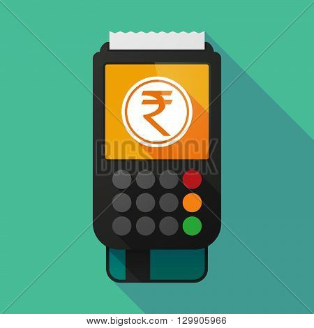 Long Shadow Dataphone With  A Rupee Coin Icon