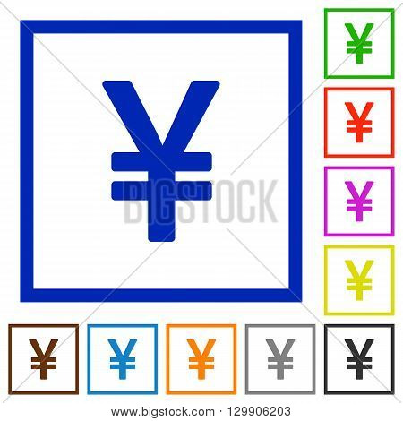 Set of color square framed yen sign flat icons on white background