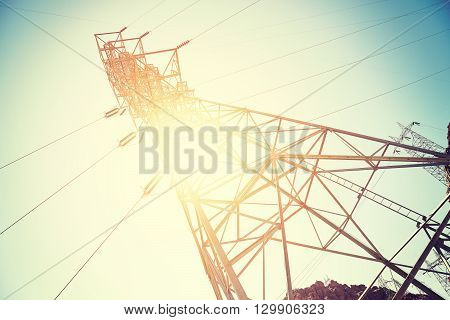 Vintage Toned Electricity Transmission Tower.