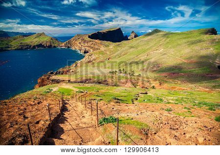 walking path with down stairs at the Ponta de Sao Lourenco Madeira Portugal