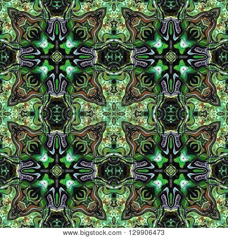 Computer generated illustration with green abstract kaleidoscope pattern.