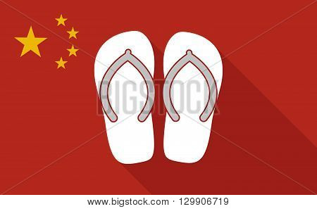 China Long Shadow Flag With    A Pair Of Flops