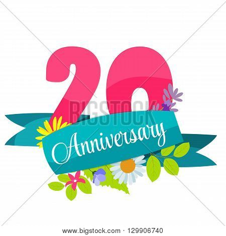 Cute Template 20 Years Anniversary Sign Vector Illustration EPS10