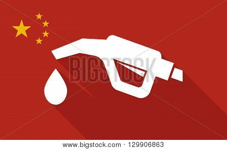 China Long Shadow Flag With   A Gas Hose Icon