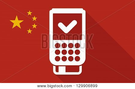 China Long Shadow Flag With   A Dataphone Icon
