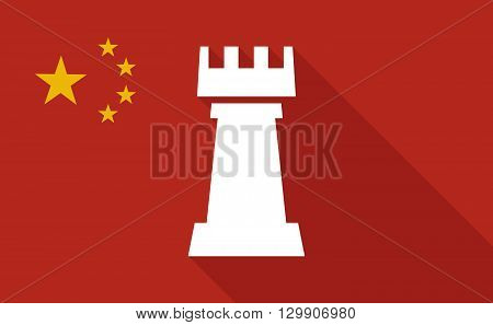 China Long Shadow Flag With  A  Rook   Chess Figure