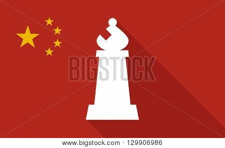 China Long Shadow Flag With  A Bishop    Chess Figure