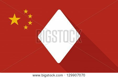 China Long Shadow Flag With   The  Diamond  Poker Playing Card Sign