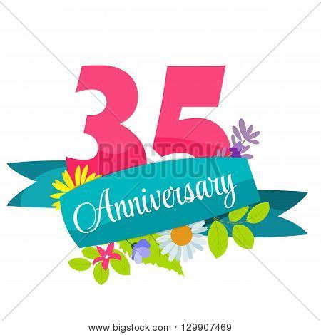 Cute Template 35 Years Anniversary Sign Vector Illustration EPS10