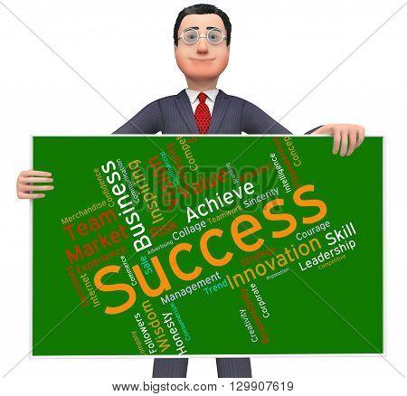Success Words Represents Text Victor And Progress