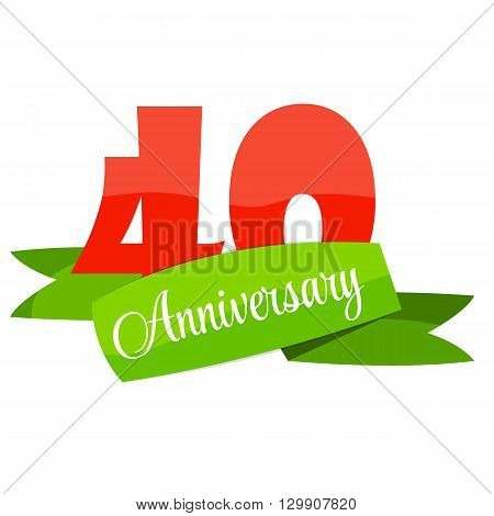 Cute Template 40 Years Anniversary Sign Vector Illustration EPS10