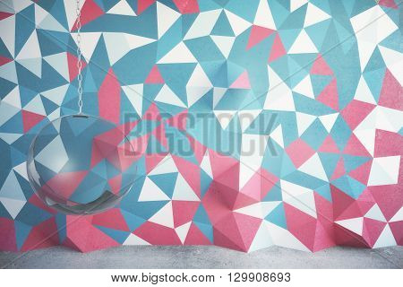 Interior design with colorful patterned wall concrete floor and suspended chair. 3D Rendering