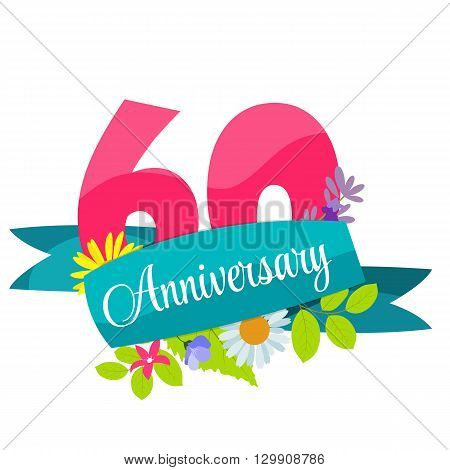 Cute Template 60 Years Anniversary Sign Vector Illustration EPS10