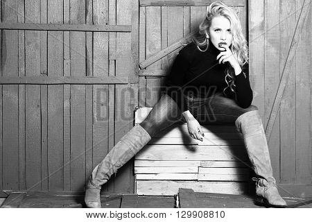 Stylish Sexy Blonde Lady