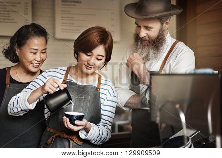 Barista Making Coffee Cafe Coffee Shop Concept