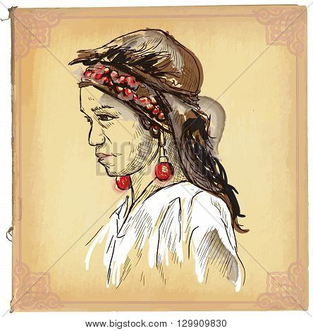 Beauty From Laos - An Hand Drawn Vector Sketch, Freehand, Colored Line Art