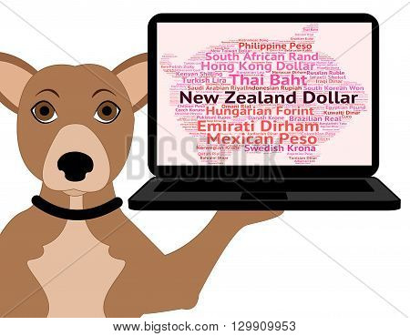 New Zealand Dollar Shows Currency Exchange And Coin